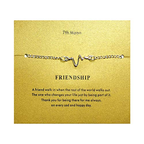 Of Friendship Circle Bracelet (7th Moon Friendship Minimal Dainty Bracelet Tiny Cross Freshwater Pearl Heart Circle Bar Handmade Brecelet with Gift Card (Heartbeat-Silver))