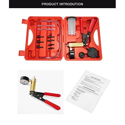 Pompe Manuelle à Dépression Purgeur Liquide de Frein Testeur à Vide Kit Outil de Réparation pour Voiture Moto, avec Coffret Rouge durable modeling