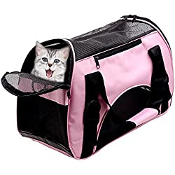 Huanxu Pet Carriers For Small Dog & Cat, Airline Approved Travel Tote Soft Sided Shoulder Bag with Mat - Pink