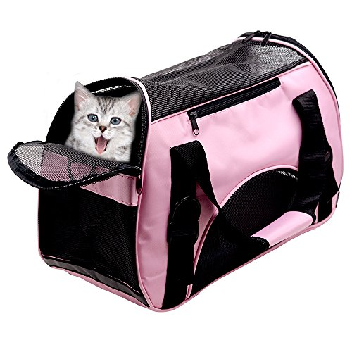 Huanxu Pet Carriers For Dog & Cat, Comfort Airline Approved Travel Tote Soft Sided Shoulder Bag with Mat - Under Seat Compatability (Pink)