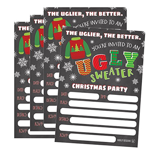 25 Ugly Sweater Party Holiday Invitations, Winter Christmas Invite Snowflake Kids or Adult Birthday Invitation, Bachelorette or Housewarming -