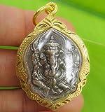 OM Lord Ganesha Talisman Thai Buddha Holy Amulet Pendant Case Gold
