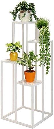 Soporte para Plantas Estante para Flores Hierro Soporte de exhibición de jardín para 4 Macetas para Plantas Soporte de Estante para jardín Patio Balcón Sala de Estar (Color : White): Amazon.es: Hogar