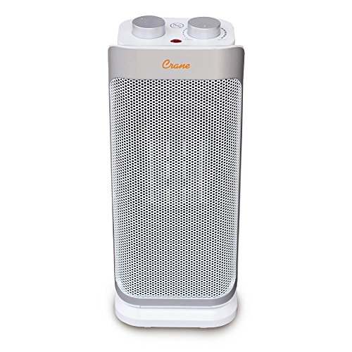 Safe and Easy to Use Oscillating Ceramic Mini Tower Personal Space Heater Features Ultra Slim Design, 3 Function Setting, Built-In Fan and Carrying Handle by Crane Ceramic Heaters Unknown