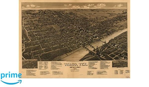 24x36 Bird/'s Eye View 1886 Waco Texas Vintage Style City Map