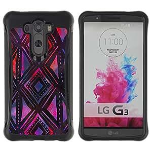 WAWU Funda Carcasa Bumper con Absorci??e Impactos y Anti-Ara??s Espalda Slim Rugged Armor -- shapes pattern purple black art hand -- LG G3