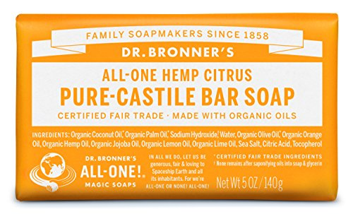 Dr. Bronner's Pure-Castile Bar Soap – Citrus Orange, 5 oz