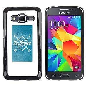 Caucho caso de Shell duro de la cubierta de accesorios de protección BY RAYDREAMMM - Samsung Galaxy Core Prime SM-G360 - Blue Arrow Poster White Text