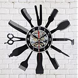 Creative Vinyl Wall Clock Gift Idea for Barber Hair Beauty Salo Hairdresser Barber Shop Art Decor Clock Cool Design