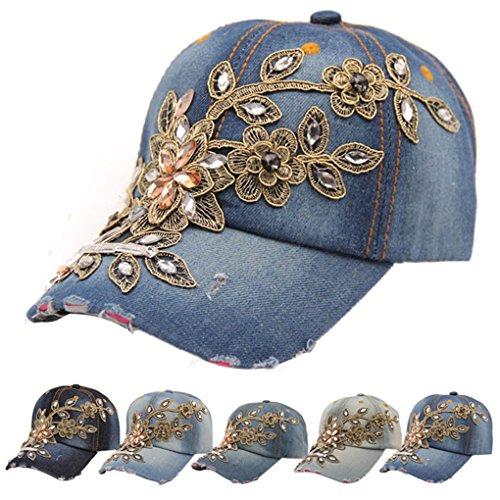 haoricu (Delivery from US Baseball Hat, 2017 New Women Diamond Flower Baseball Cap Summer Style Jeans Hats