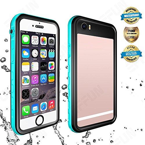 Effun iPhone 6S Plus/6 Plus Waterproof Case, IP68 Certified Waterproof Underwater Cover Dirtproof Snow/Shock Proof Case with Cell Phone Holder, PH Test Paper, Stylus Pen, Floating Strap Aqua Blue