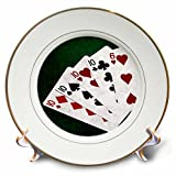 3dRose Alexis Photo-Art - Poker Hands - Poker Hands Four Of A Kind Ten Six - 8 inch Porcelain Plate (cp_270308_1)