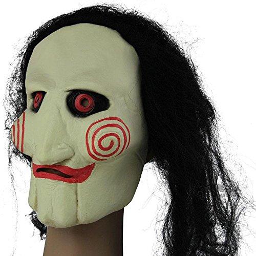Carnaval de Halloween Mostrar barra de suministros Saw peluca máscara de látex cabeza de la sierra: Amazon.es: Juguetes y juegos