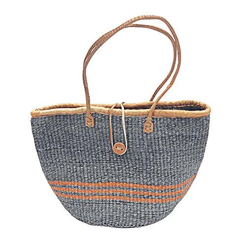 Kiondo Basket Bag - Grey With Orange Stripes | 13
