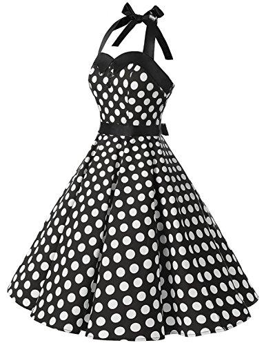 Nu 'audrey Halter Rockabilly Pin Bal Dressystar dos Vintage De up Hepburn' 50's 60's Noir Pois Polka Blanc À Robe xwq81qFp