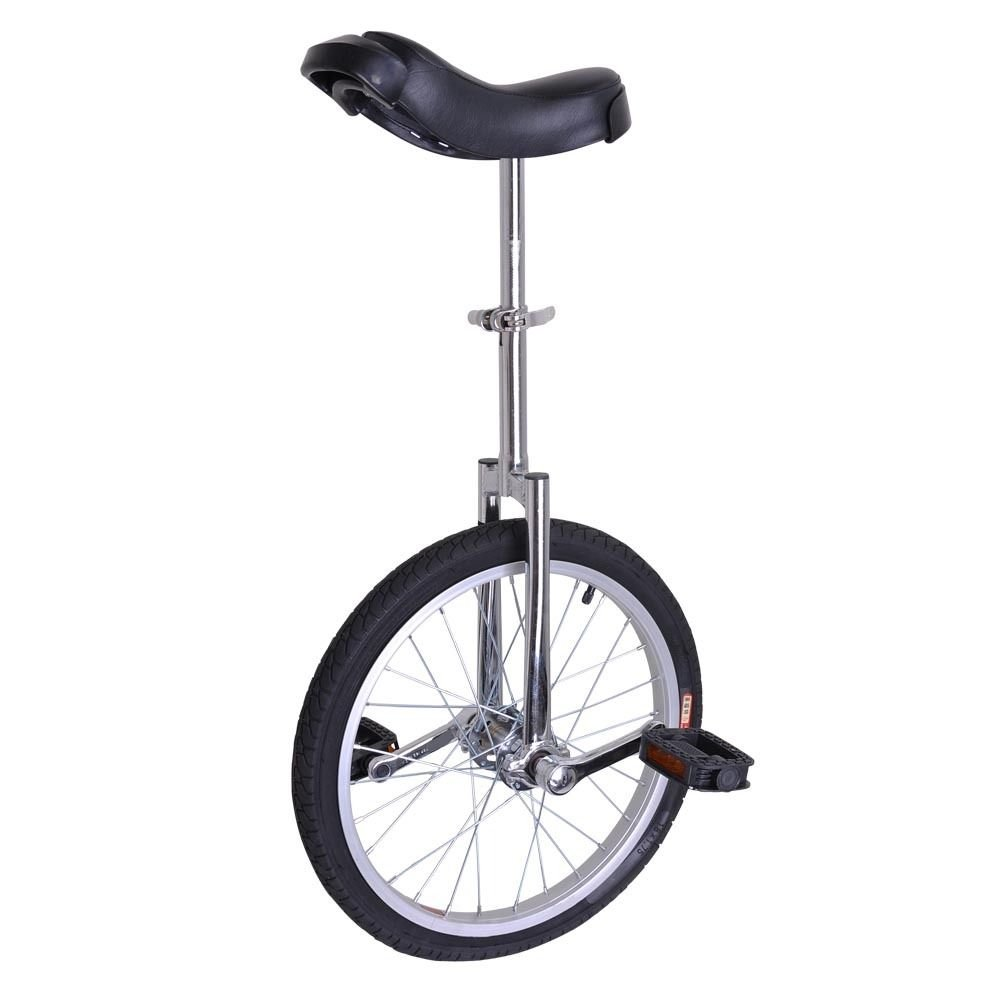 18 Inch Mountain Bike Wheel Unicycle with Quick Release Adjustable Seat Color Chrome Silver