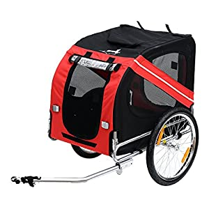 Aosom Elite Pet Dog Bike Trailer with Type 'A' Hitch, Leash Hook, Satety Flag 30