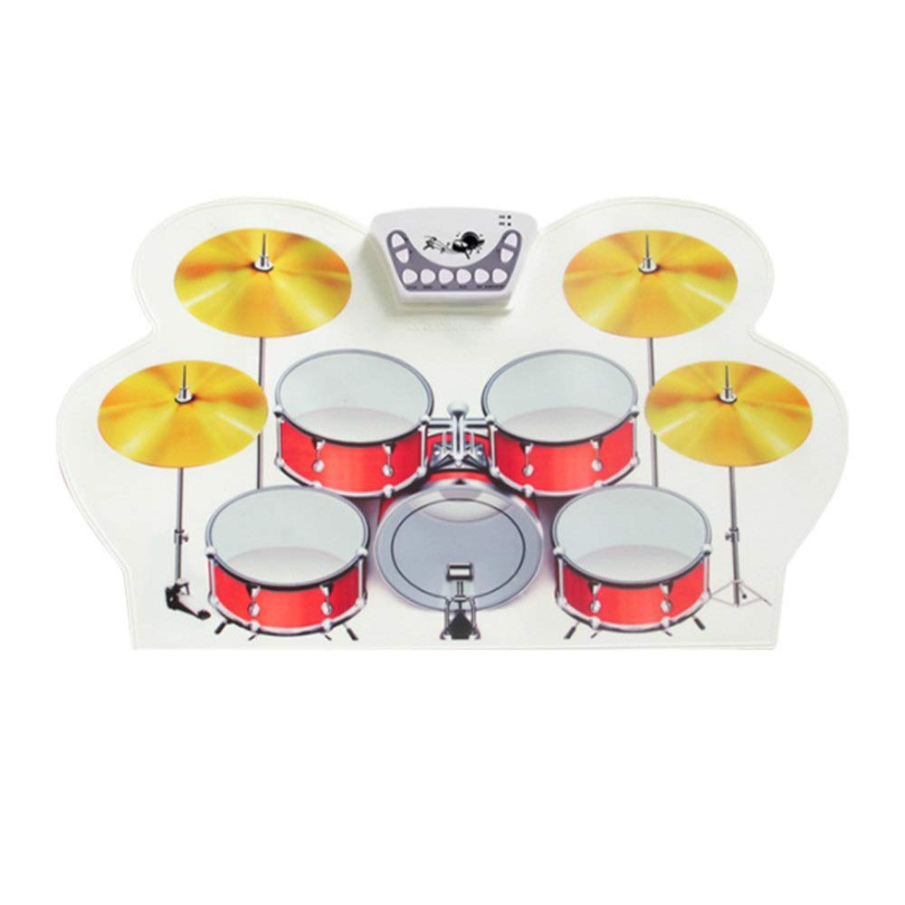 Roll Up Drum Kit, USB Portable Electronic Practice Roll Up Drum Set with 9 Silicon Pads Drum Kit with Headphone Jack Sustain Pedals Drum Sticks No Speaker Gift for Kids