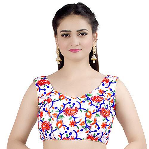 Chandrakala Women's Designer Bollywood Readymade MultiWhite Indian Style Saree Blouse Padded Brocade Choli-2X-Large () ()