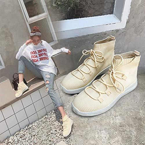 Calzettoni A Beige Casual Donna Training Maglia Elastici Piatte Alti Lavorate Cross Yan Da Novità Fitness Sneakers Nero Scarpe E pnP1wEEqYU