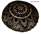 ANJANIYA - 32'' Mandala Bohemian Yoga Meditation Floor Pillow Comfortable Home Car Bed Sofa Cushion Cover Couch Seating Large Zipped Throw Hippie Decorative Ottoman Boho Indian (Black Gold)