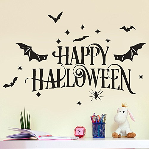 Auwer Happy Halloween Wall Decals Decorations DIY Party Supplies Wall Decal Wall Sticker for Kids Rooms Nursery Halloween Party (Black)]()