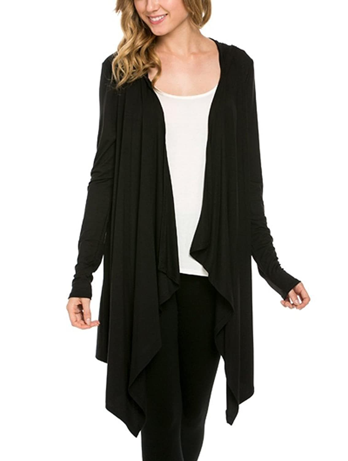 12 Ami Solid Open Front Long Sleeve Hooded Cardigan