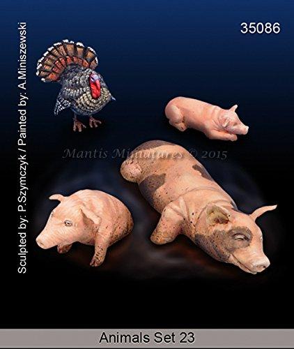 Turkey Hog - Mantis Miniatures 1:35 Animal Set #23 Turkey and Hogs - Resin Figure Kit #35086