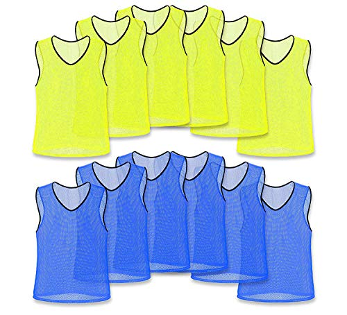 Unlimited Potential Nylon Mesh Scrimmage Team Practice Vests Pinnies Jerseys for Children Youth Sports Basketball, Soccer, Football, Volleyball (6 Yellow / 6 Blue, Adult)