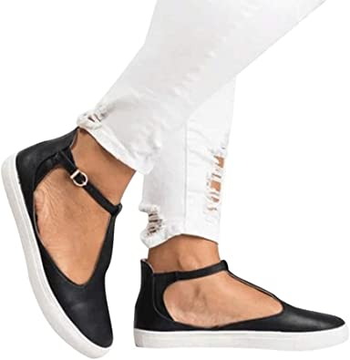 Women Sandals Rome Flat Cutout Ankle Boots Buckle Strap for Women Platform Flat Closed Toe Shoes by Lowprofile