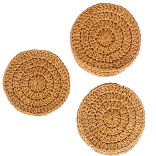 Drink Acrylic Coaster (INA KI Drink Coaster/Car Coaster - Hand woven Indian Acrylic wool Coasters for drinks & to prevent scratch on table, Set of 6 (Beige Color))