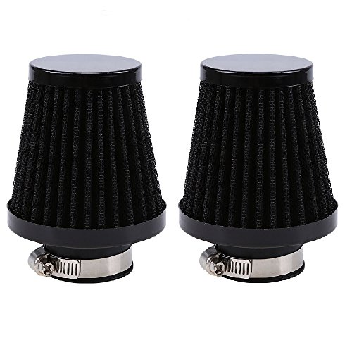 E-Bro 2PCS Motorcycle Air Intake Filter Cleaner Black for Honda Yamaha Suzuki Kawasaki ATV - Atv Intake