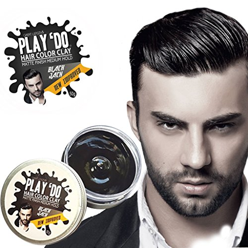 Play 'Do Temporary Hair Color, Hair Wax, Hair Clay, Mens Grooming, Pomade, Black hair dye(1.8 ounces) -