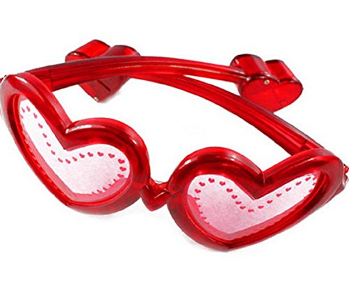1 Pair of LED Flashing Valentine's Day Light Up Heart Glasses Shades - Various Colors by Mammoth Sales - Shutter Heart Glasses
