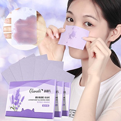 LiPing 80PCS Sheets Make Up Oil Absorbing Blotting Facial Beauty Salon Device Skin Care Cleansing Tool Facial Cleansing Devices (Lavender)