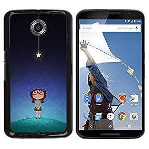 Paccase / SLIM PC / Aliminium Casa Carcasa Funda Case Cover para - star cute smart girl kids night blue - Motorola NEXUS 6 / X / Moto X Pro