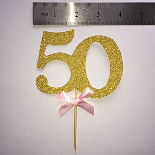 Handmade 50th Birthday Party Decor Glitter Gold Number 50 Cupcake Toppers50th