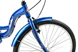 Schwinn Meridian Adult Tricycle with 26-Inch Wheels in Blue, with Low Step-Through Aluminum Frame, Front and Rear Fenders, Adjustable Handlebars, Large Cruiser Seat, and Rear Folding Basket