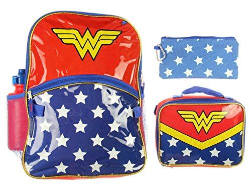 Wonder Woman Backpack Girls 5 Piece Lunch Box Water Bottle Back to School Set
