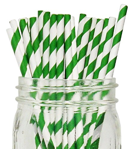 Green/White Stripe Set of 100 Count Size 7 3/4 inch Stripe Design Paper Drinking Straw Baking Sticks Cake Pop Sticks For Cake Pops Lollipops Crafts Cupcake Toppers Rock Candy and Brownie Pops