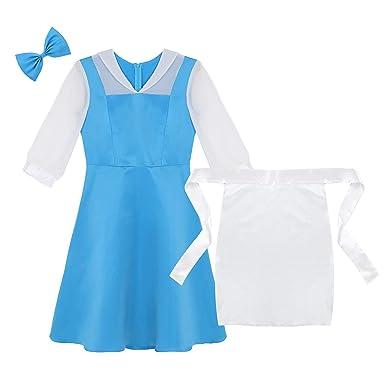 Amazon.com: Freebily Women Adults Princess Blue Dress Apron ...