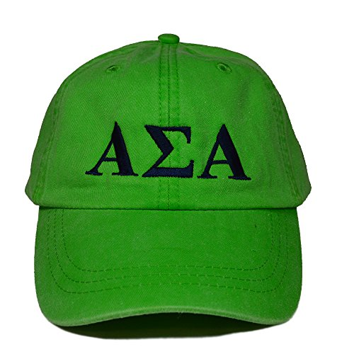 Alpha Sigma Alpha Sorority Baseball Hat Cap Designer Greek Letter Design Sorority Sports Cap Neon Green Hat with Navy Thread Standard Size Adjustable Leather Strap ASA (Berry Green New Chapter)