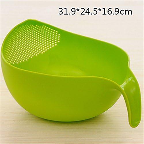 Wuudi Plastique Riz Rondelle et gardien de cuisine /à laver Bol avec passoire et poign/ée pour riz//l/égumes//fruits L Green
