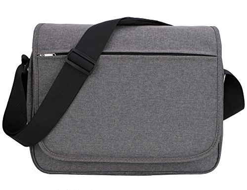 MIER Unisex Messenger Bag 15.6 Inches Laptop Shoulder Bag for Work and School, Multiple Pocket, Update Grey