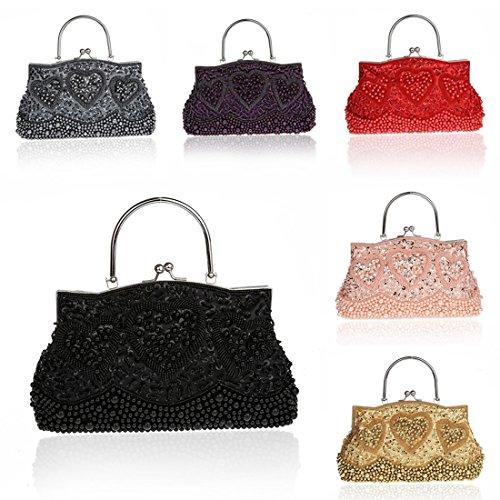 YYW Sequin Clutch Bag - Cartera de mano para mujer gris