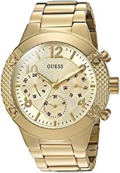 Guess Women's U0849l2 Sporty Gold-tone Stainless Steel Watch With Multi-function Dial & Pilot Buckle