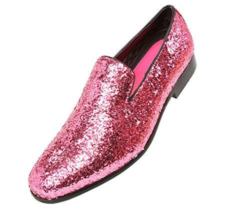 (Amali Mens Metallic Sparkling Glitter Tuxedo Slip On Smoking Slipper Dress Shoe)