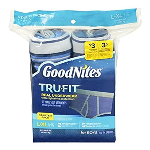 (Pack of 4) GoodNites Tru-Fit Real Underwear with Nighttime Protection Starter Pack for Boys, Large/Xl, 2 Underwear and 5 Disposable Inserts