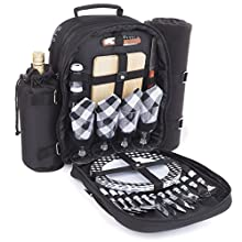 Plush Picnic - Picnic Backpack/Picnic Basket with Cooler Compartment, Detachable Bottle/Wine Holder, Fleece Blanket, Plates and Cutlery Set (4 Person)