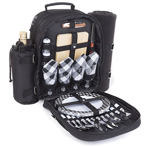 Plush Picnic - Picnic Backpack/Picnic Basket with Cooler Compartment, Detachable Bottle/Wine Holder, Fleece Blanket, Plates and Cutlery Set (4 Person) (Picnic Bag Set)